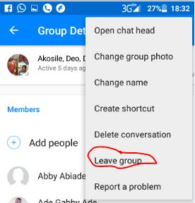 Leave Facebook group chat on Android messenger