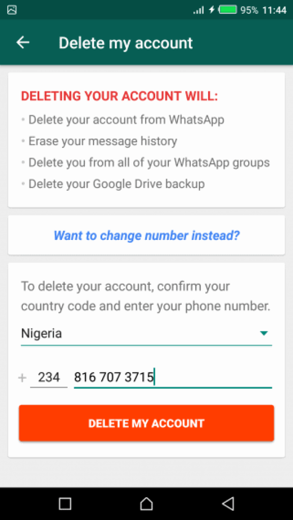 Delete whatsapp account or deactivate whatsapp account