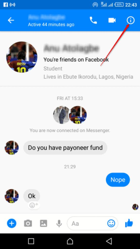 Block Facebook User on Messenger