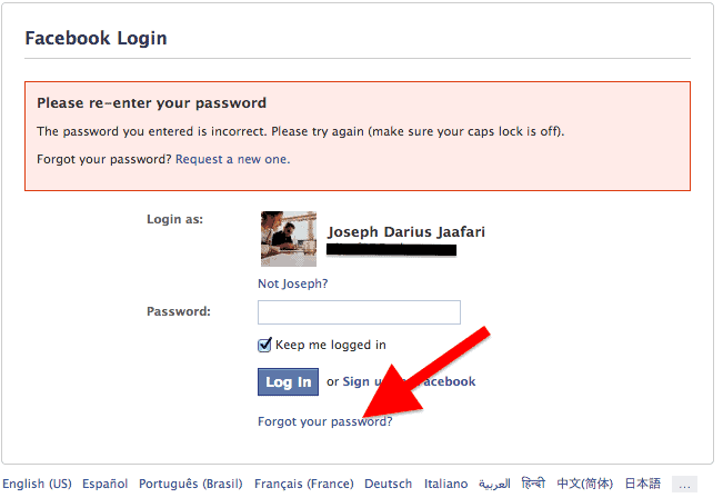 Recover Facebook Password