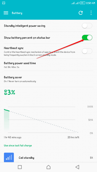 Enable Android Battery Percentage