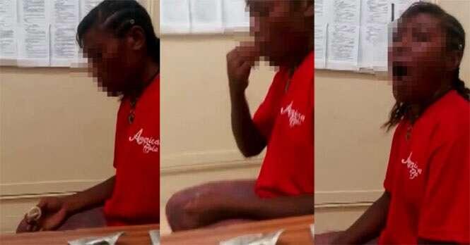 Vídeo chocante mostra momento em que mulher come preservativo