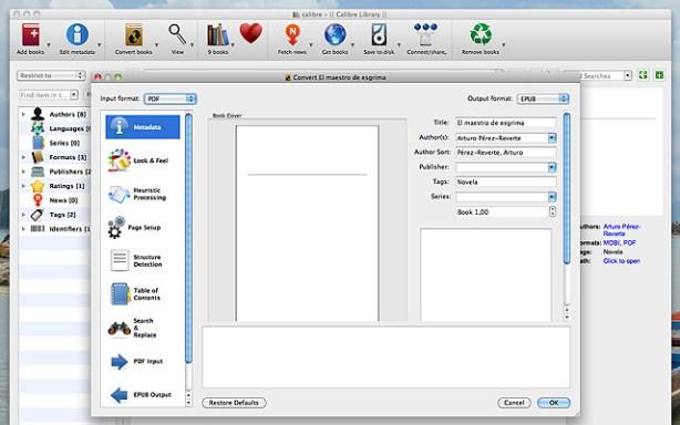 Calibre convertir PDF ePub