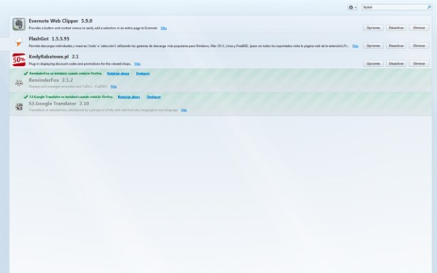 Puedes desactivar cuando quieras los complementos de Firefox