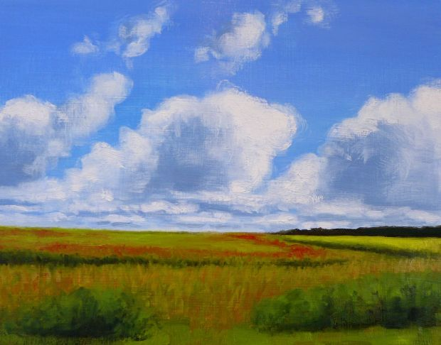 Clouds over green field by Kendra Gadzala