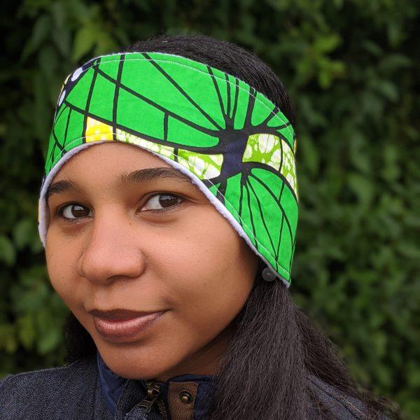 HIBOU Yellow Green Spiral Winter Cozy Headband a1