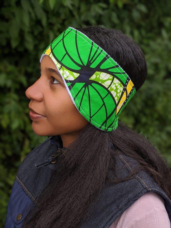 HIBOU Yellow Green Spiral Winter Cozy Headband a3