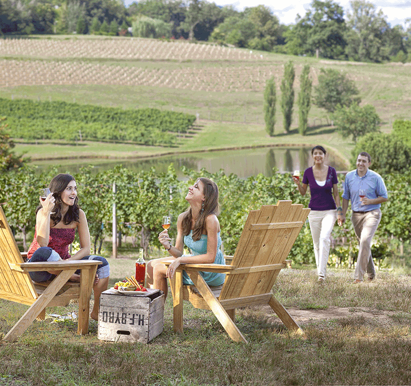 people enjoying wine at crane creek vineyards