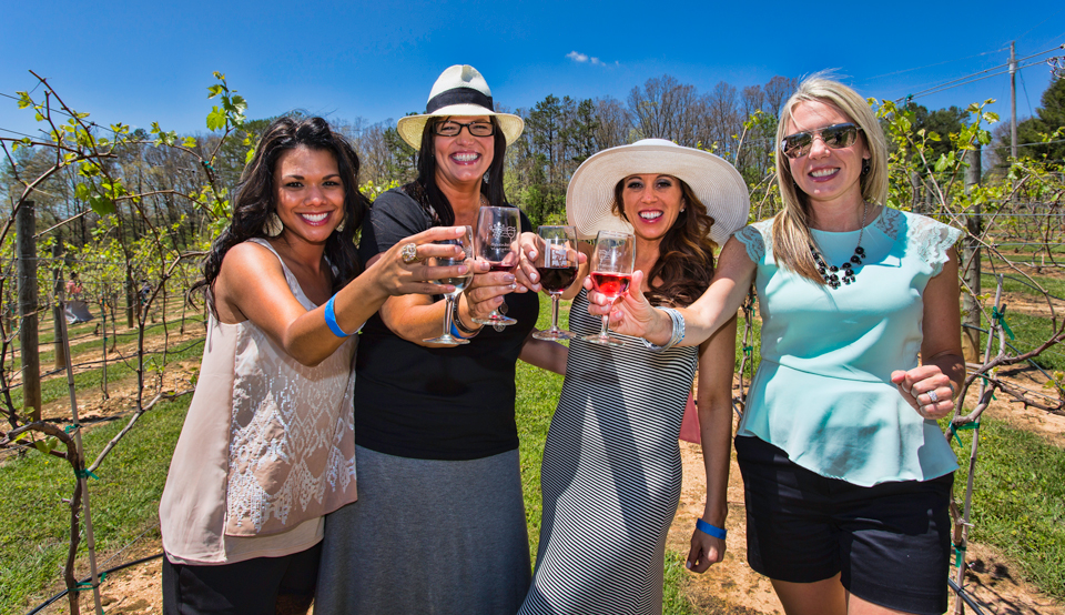 Ladies toasting with Serenberry wine