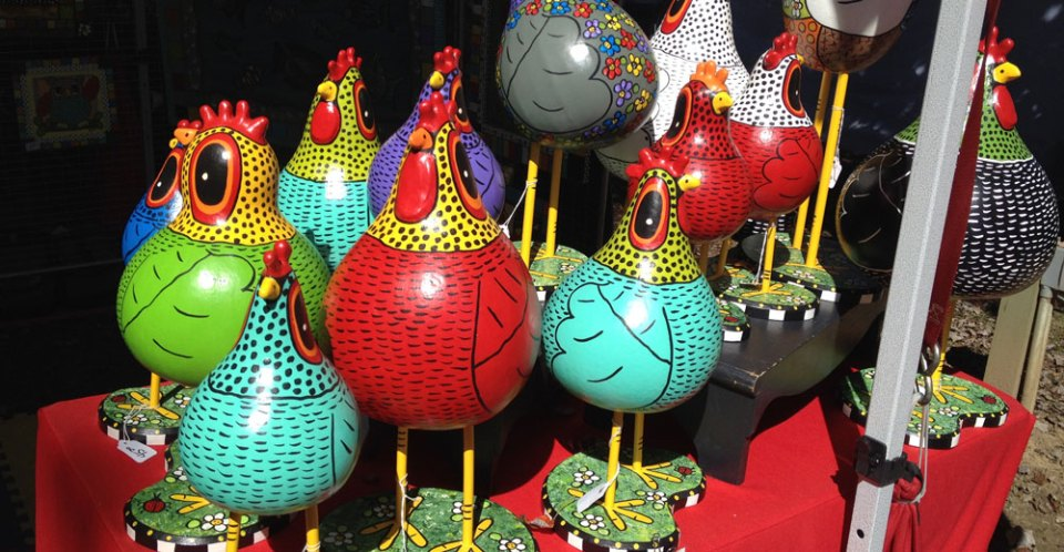 colorful chickens made from gourds