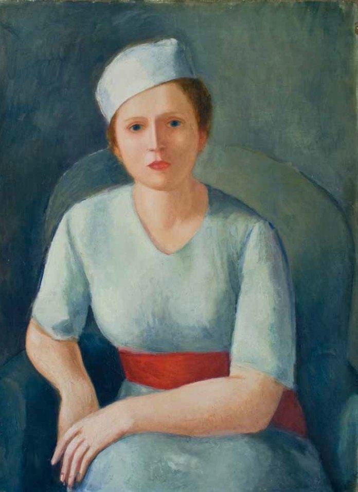 Virgilio Guidi, Donna dalla cintura rossa, 1929, olio su compensato, cm 90 x 62