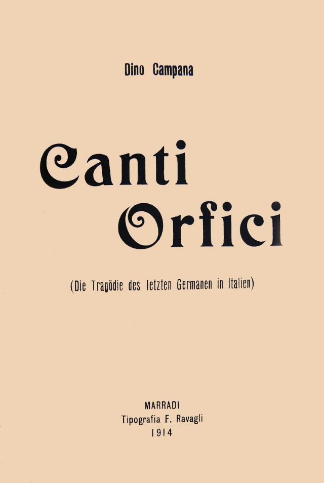La copertina di Canti orfici di Dino Campana