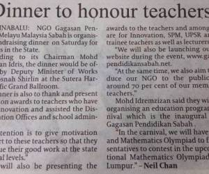 DINNER TO HONOUR TEACHERS DITERBITKAN OLEH DAILY EXPRESS