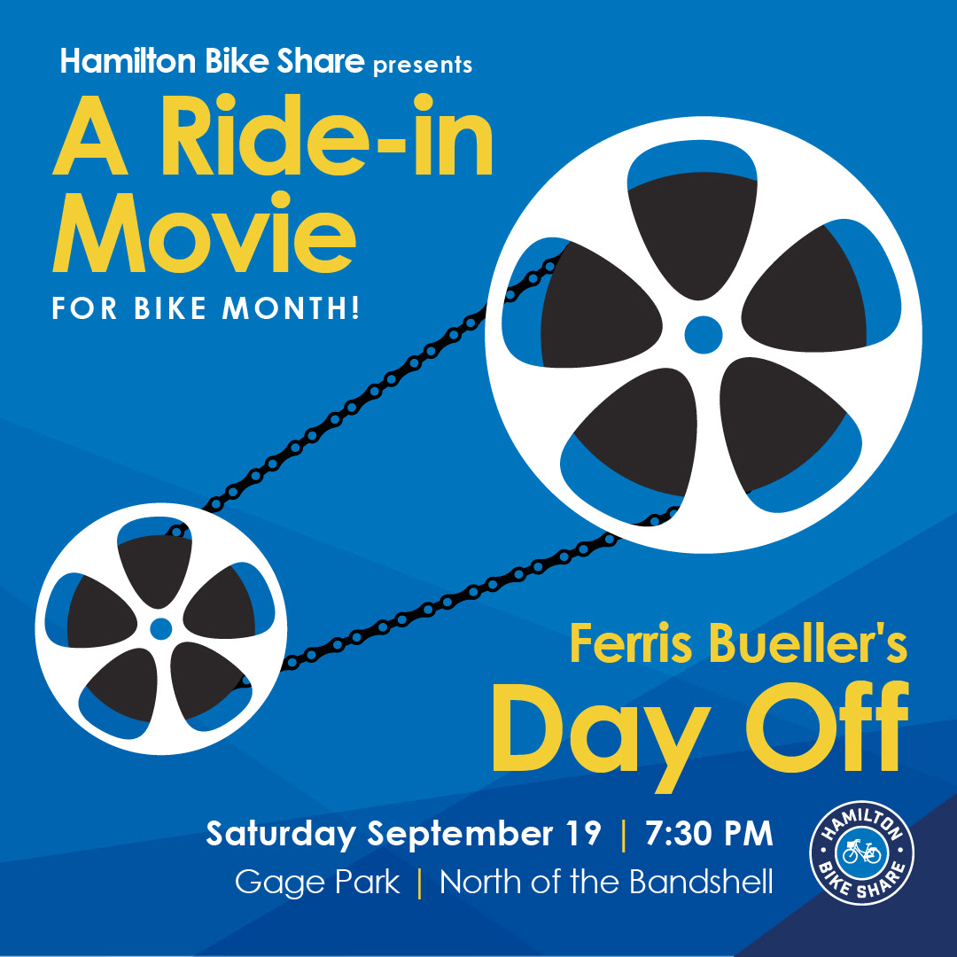 A Ride-In Movie at Gage Park. Saturday September 19 7:30 PM at the Band Shell. Ferris Bueller's Day Off.
