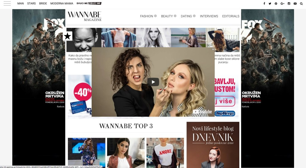 okruzeni reklamama na web sajtu
