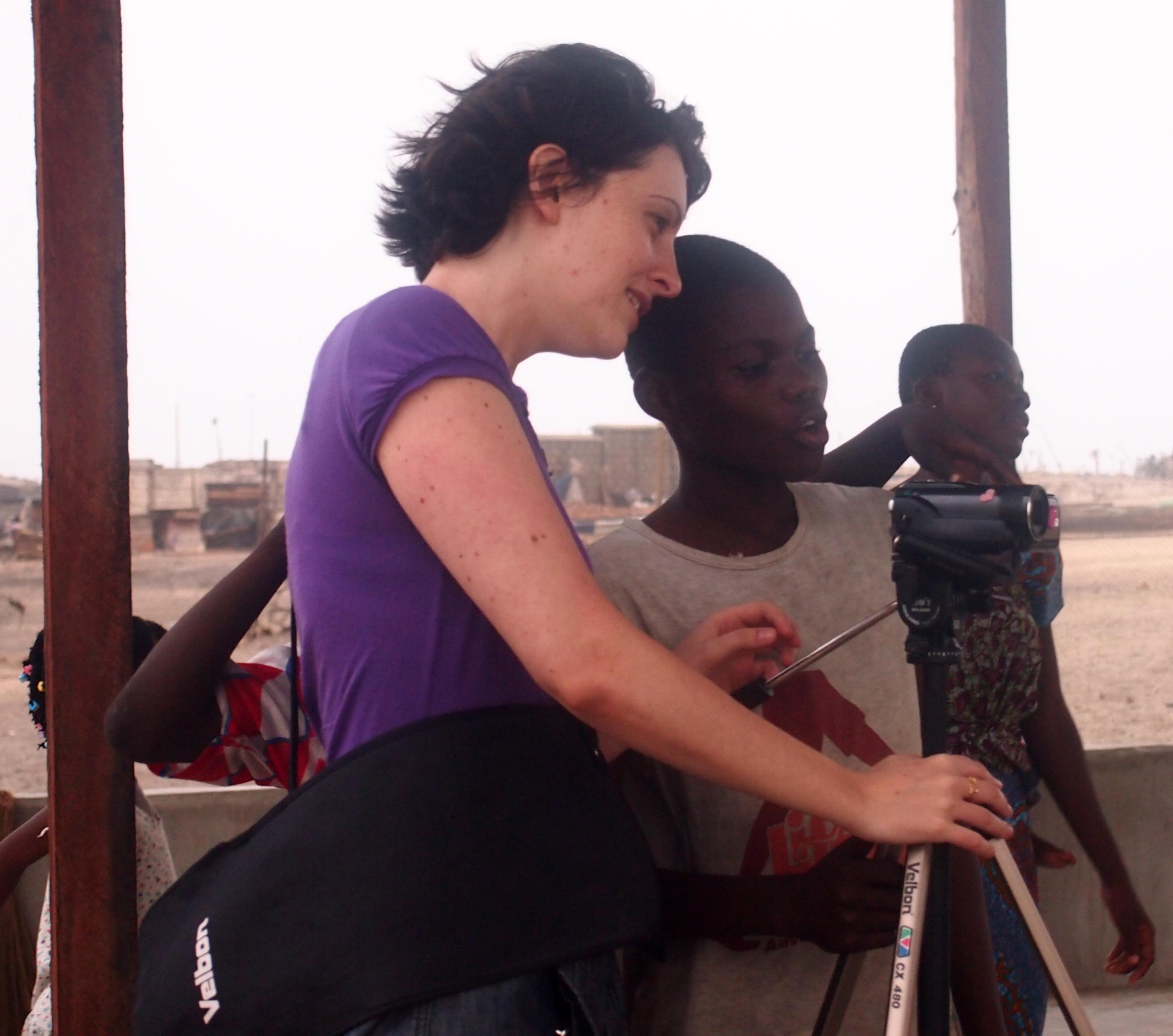 Gaia Manco filming in Accra (Ghana)