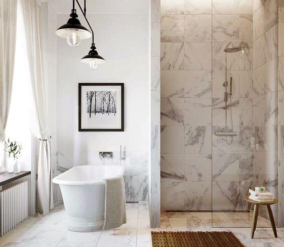abbinare marmo in bagno