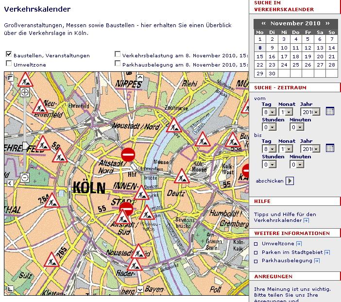 Staumeldungen für Köln - Live und aktuell
