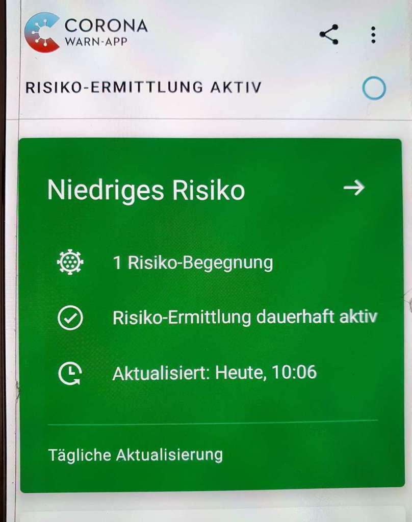 Corona App, Risiko Begegnung