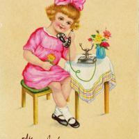 15 alte Geburtstagskarten mit Frauen und Mädchen