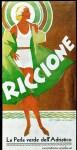 historische Postkarte Riccione Italien, Frau