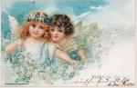 Osterkarte 1892 mit Engeln