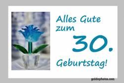 Karte 30. Geburtstag Blume türkis