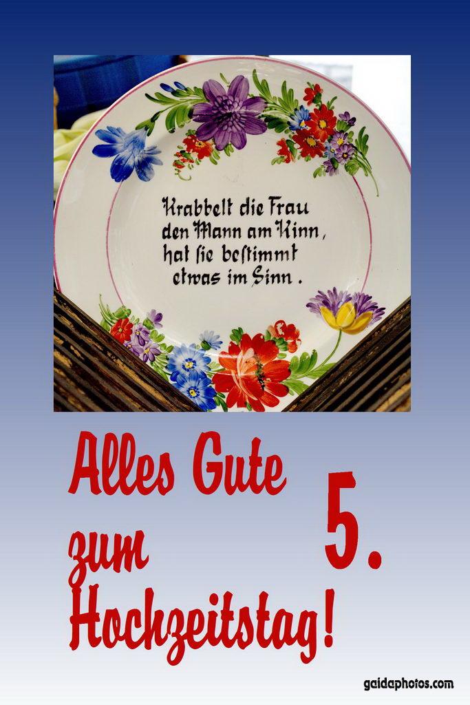 5. Hochtzeitstag Karte Teller Gedicht