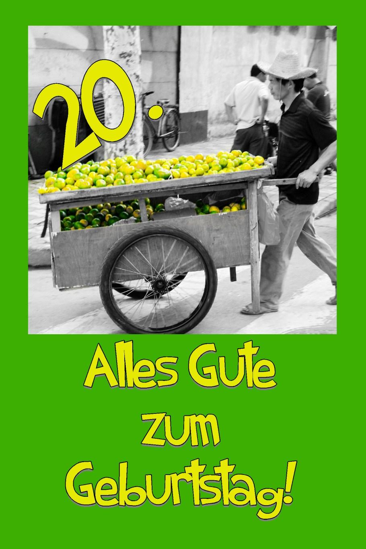 Karte zum 20. Geburtstag Zitronenverkäufer