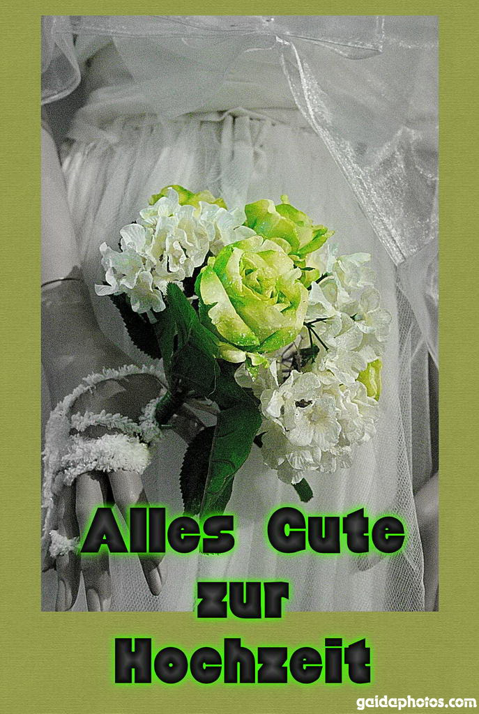 Hochzeitskarte Brautstrauß grün