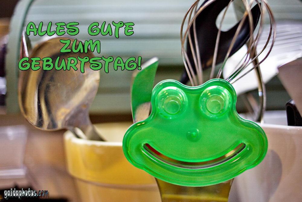 Geburtstagskarte mit lachendem Froschgesicht