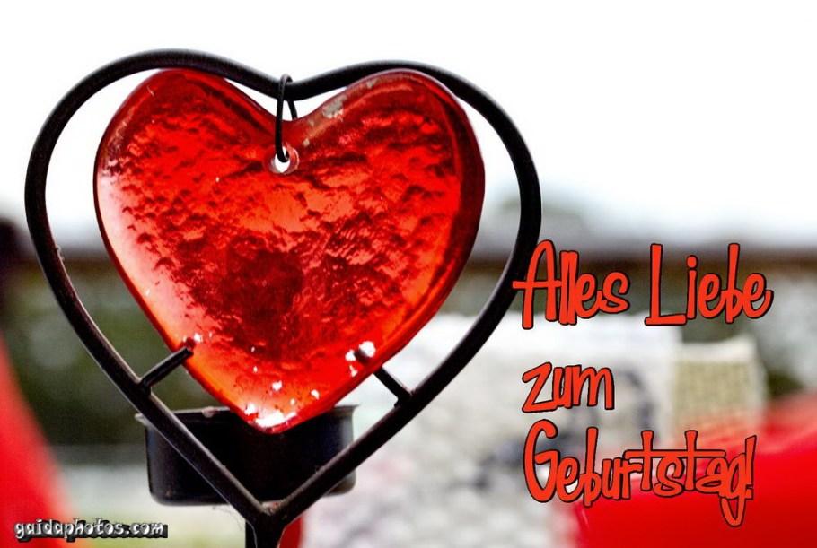 Geburtstagskarte rotes Herz aus Glas