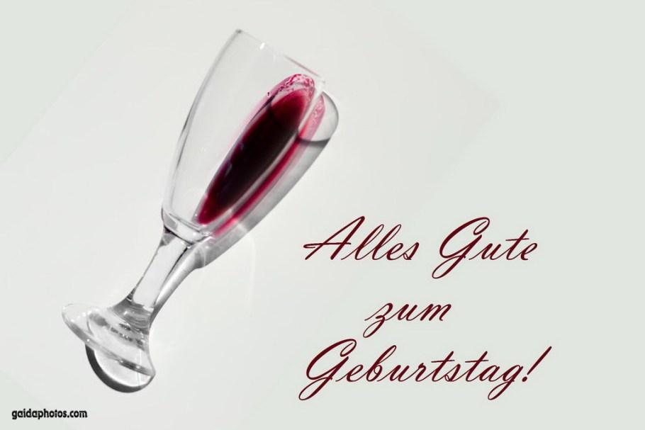 Glückwunschkarte Geburtstag Rotweiglas