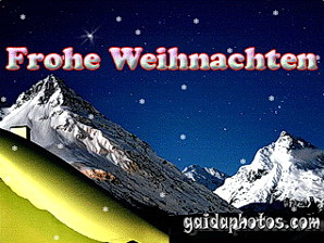 Weihnachtskarte Alpen im Mondlicht