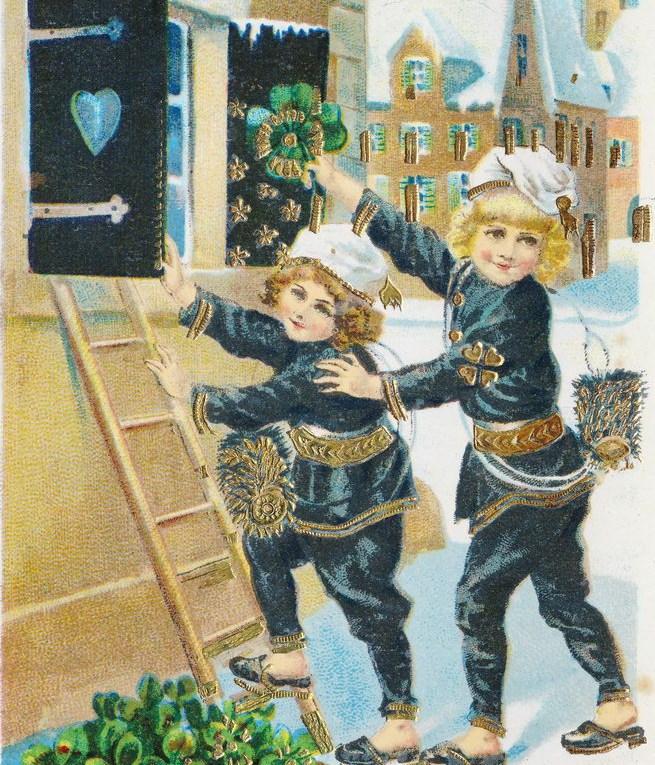 alte Neujahrskarte mit Kindern, Schornsteinfeger und Kleeblatt
