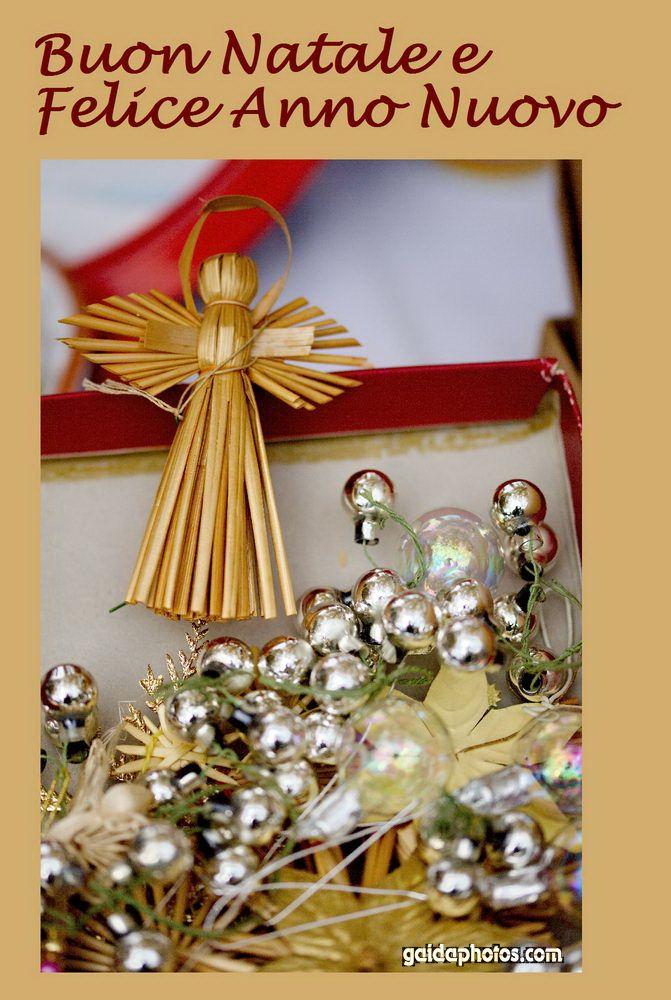 Italienische Weihnachtskarte  mit Engel und Kugeln