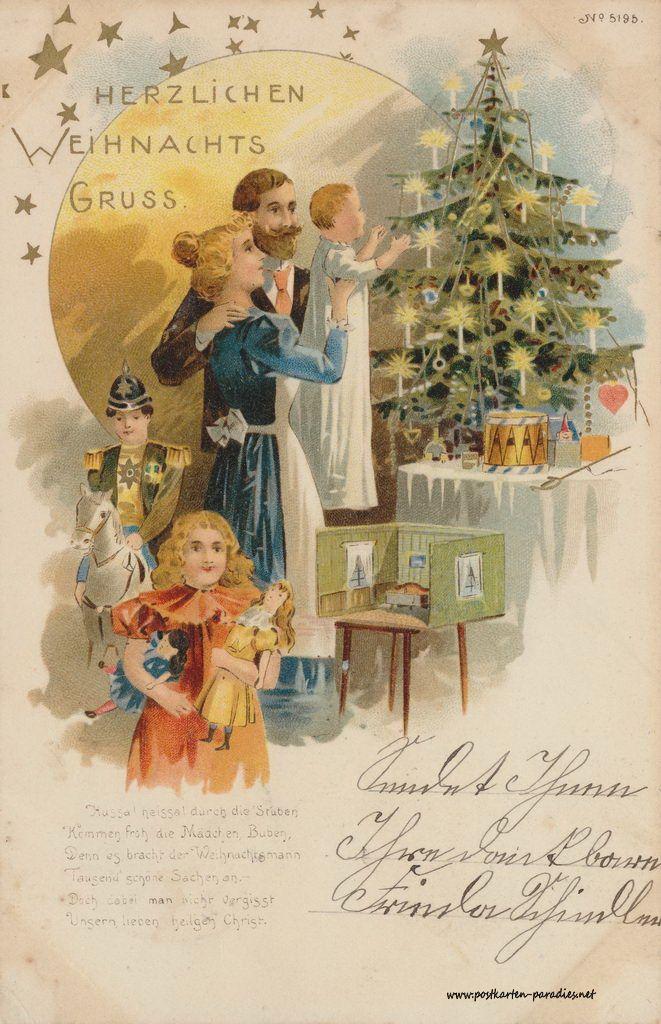 historische Weihnachtskarte von 1899 Familie Bescherung