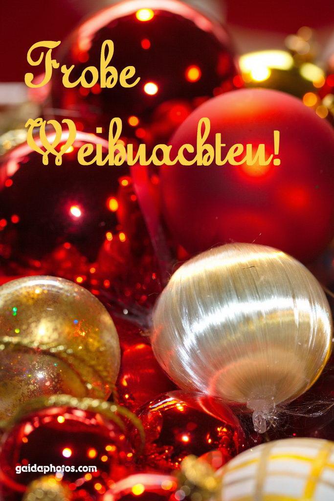 Weihnachtskarte Weihnachtskugeln rot