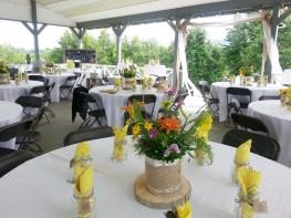 The pavilion setup for a wedding at Gaie Lea