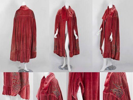 Edwardian embroidered silk velvet evening cloak.