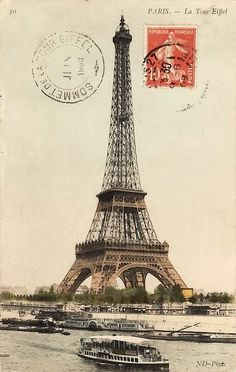 Postcard of the Eiffel Tower, 1908.