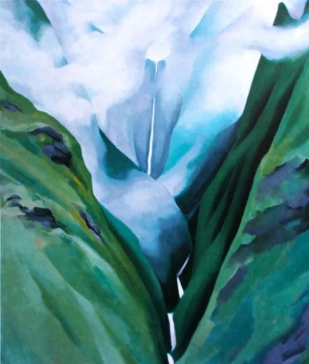 "GEORGIA O'KEEFFE, ""Waterfall, No 3, lao Valley,"" 1939, oil on canvas, 24 x 20 in, Honolulu Academy of Arts"
