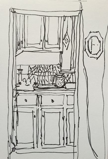 Sketch a day 365-13  pen and ink, Looking IntoThe Kitchen