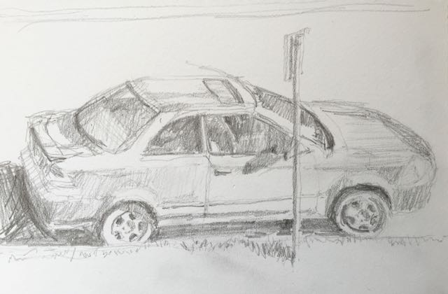 Sketch a day 365-8 - HB Pencil - The Car Outside