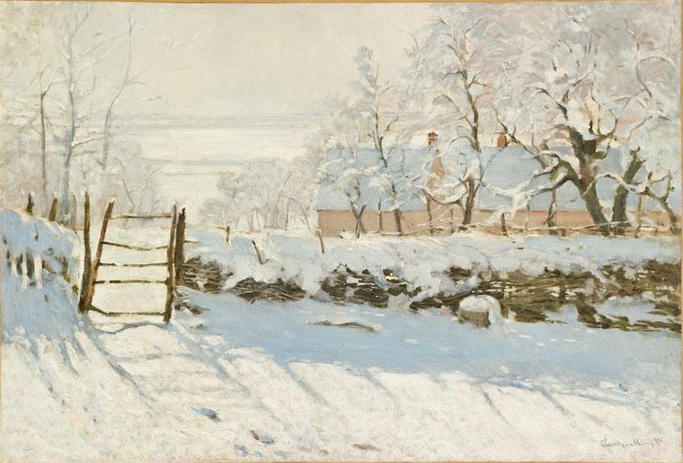 "Claude Monet, ""The Magpie,"" 1868-1869, oil on canvas, 35 x 51 1/4 in, Musee d'Orsay, Paris- magpie removed!"