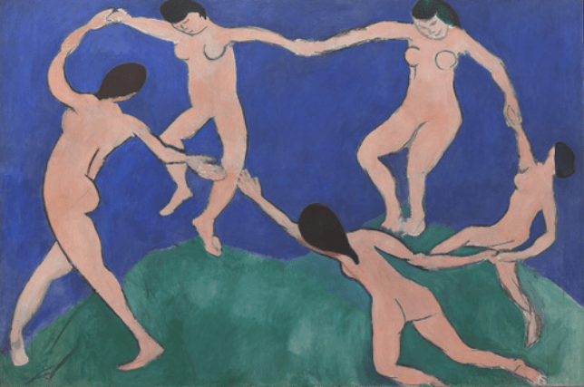 "Who am I as an artist? Henri Matisse, ""Dance (I),"" 1909, oil on canvas, 102 1/2 x 153 1/2 in, Museum of Modern Art, New York"