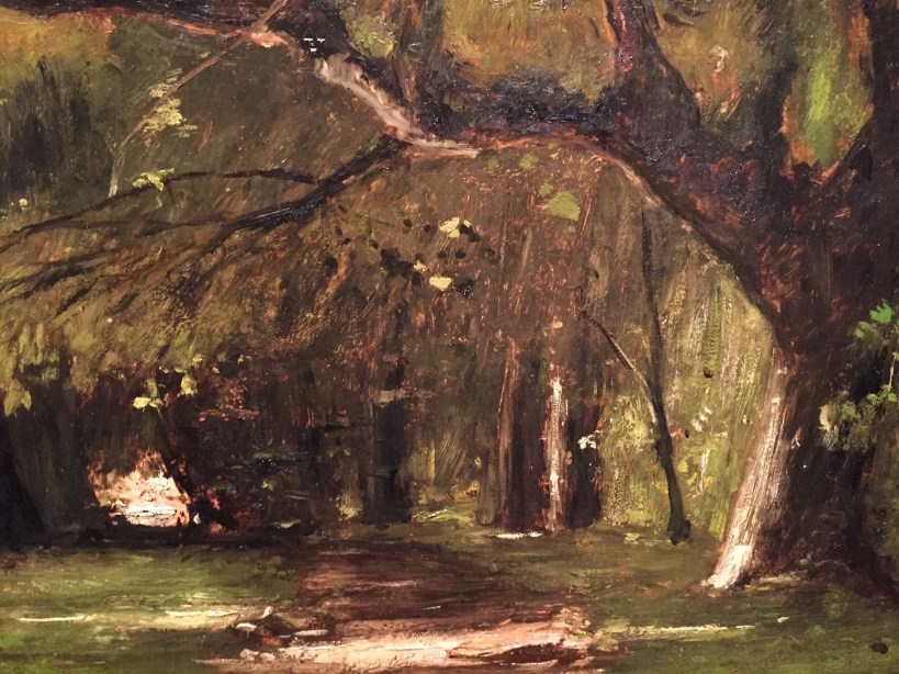 "Mihály Munkácsy, ""Park in Colpachi,"" 1886, oil on wood, 38 x 51 3/8 in (96.5 x 130.5 cm), Hungarian National Gallery, Budapest-detail"
