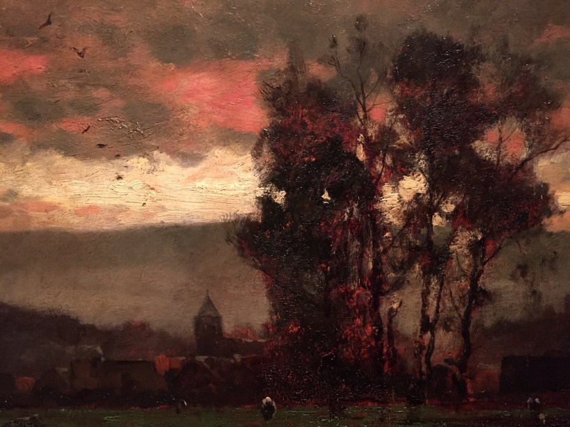 "Mihály Munkácsy, ""Landscape At Dusk,"" 1882, oil on wood, size unknown at this point, Hungarian National Gallery, Budapest - detail"