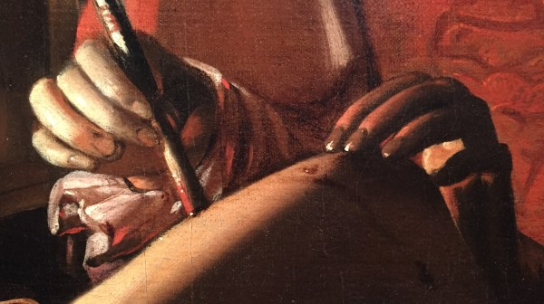 "Hands in Paintings (SAM): Attributed to Georges de la Tour and Studio, ""Saint Sebastian Tended by Saint Irene,"" ca. 1638-39, oil on canvas, 42 x 55 7/8 in (106.7 x 142cm), Seattle Art Museum - Detail"