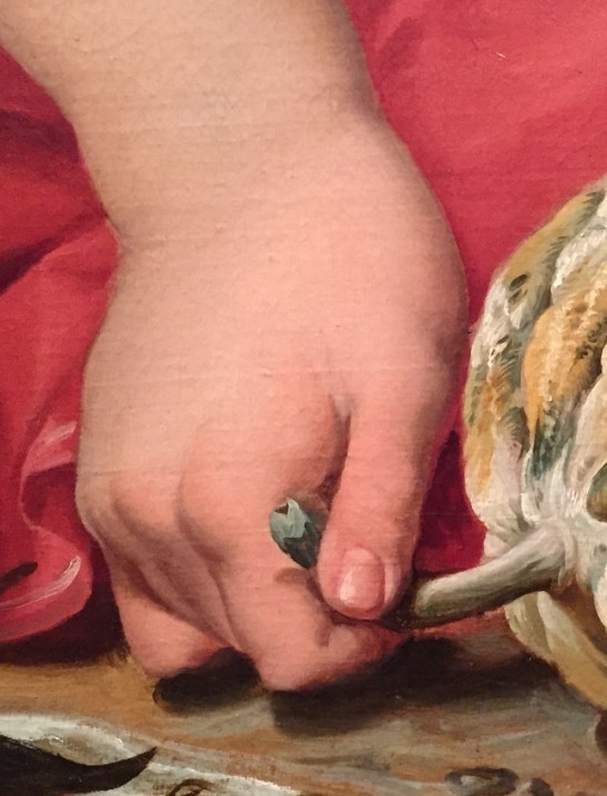 "Hands in Paintings (SAM): Abraham Janssens, ""The Origin of the Cornucopia,"" ca. 1619, oil on canvas, 42 3/4 x 68 1/16 in (108.6 x 172.8 cm), Seattle Art Museum - Detail"